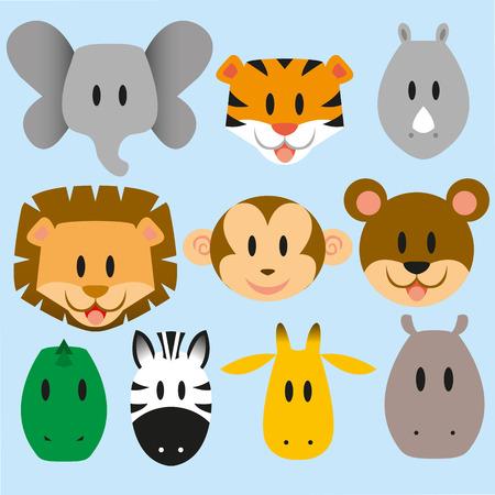 zebra head: set of cute vector cartoon wild animals