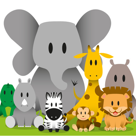 A vector cute cartoon wild baby animals scene