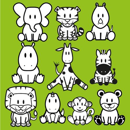 oso caricatura: Vector lindo juego de Animales Silvestres Vectores