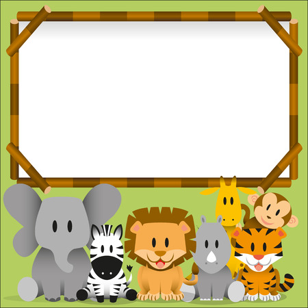 Vector Cute wild animals and blank board