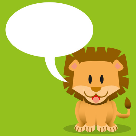 babyish: A vector cute cartoon baby lion with bubble text