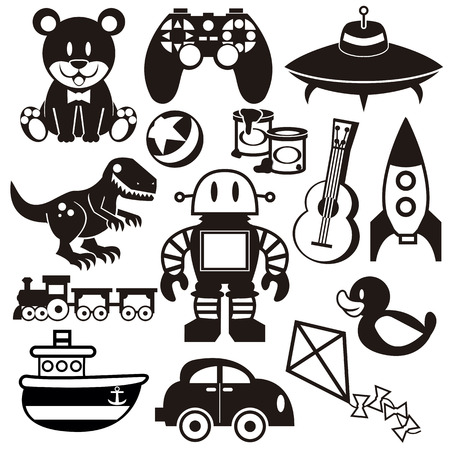 A set of differents cute vector toys 일러스트