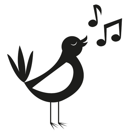 art icons: Vector Cute Black And White Cartoon Bird Singing