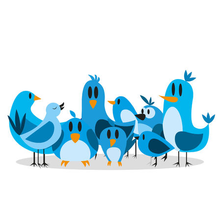 tweet: Vector Cute Cartoon Group Of Blue Birds