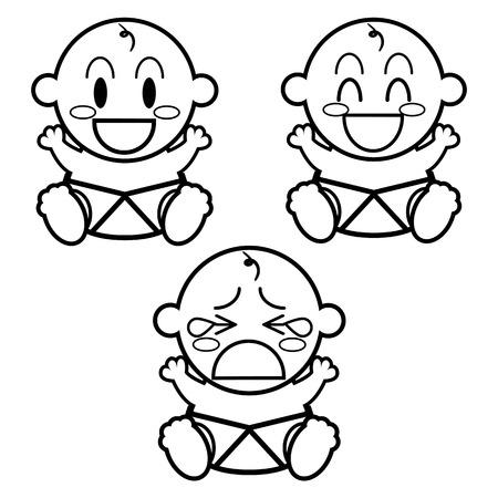 Vector de dibujos animados Cute Babies diferentes Set