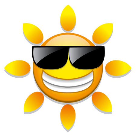 Vector Funny Cartoon Sun Icon Isolated On White Background Vector