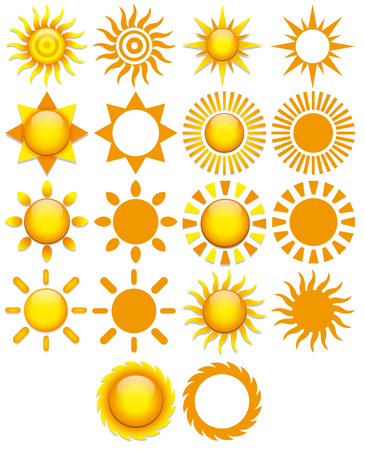 sunny beach: Vector Set Of Different Abstract Suns Isolated On White Background