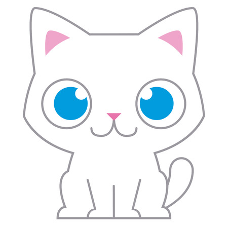 persian cat: Vector Cartoon Adorable Little Cat Isolated Illustration