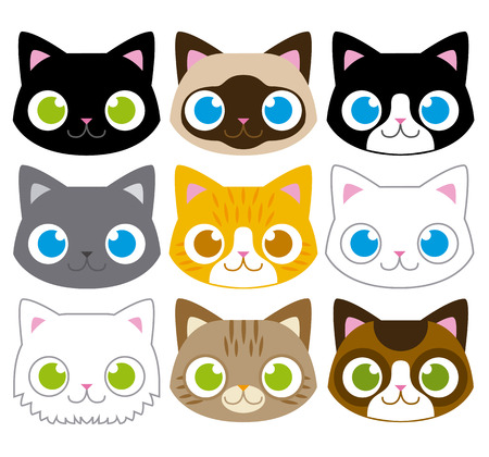 Vector Set Of Different Adorable Cartoon Cats Faces
