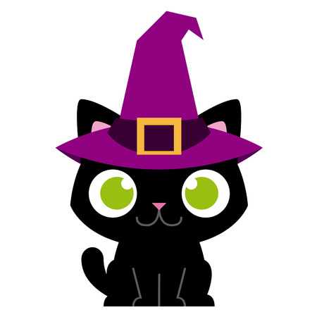 cat clipart: Vector Adorable Cartoon Cat With Witch Hat Isolated