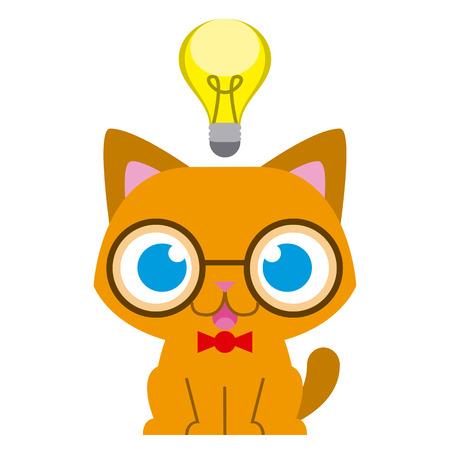 cat clipart: Vector Adorable Cartoon Nerd Cat With A Bulb