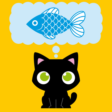 cat clipart: Vector Cartoon Adorable Cat Dreaming With A Fish Illustration