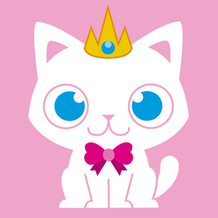 Vector Cartoon Adorable Cat Dressed Like A Princess Vector