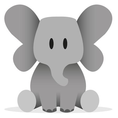 elephant: Một vector hoạt hình dễ thương biểu tượng con voi
