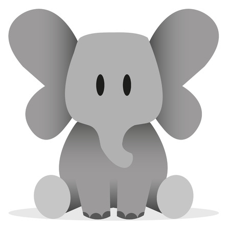 A vector cute cartoon baby elephant icon