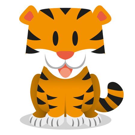 tigre caricatura: Un icono del tigre de bebé lindo de la historieta del vector