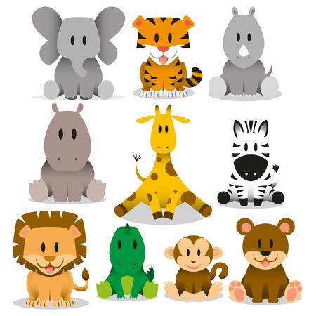 A set of cute vector wild animals Vector
