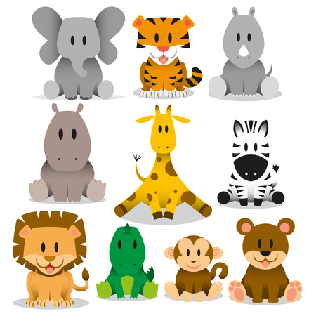 A set of cute vector wild animals