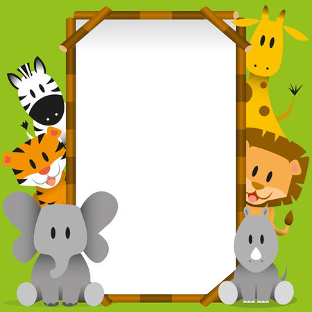 Vector Cute wild animals and blank board Vector