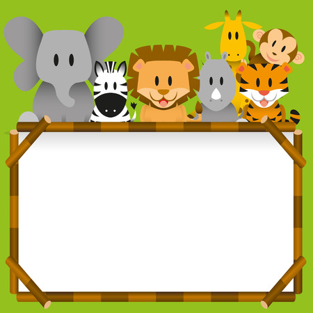 Vector Cute wild animals and blank board Vector