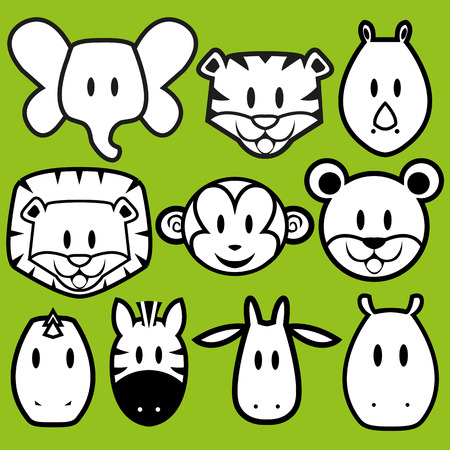 Vector Cute Wild Animals set Vector