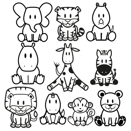 Vector Cute Wild Animals set 矢量图像