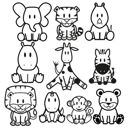 Vector Cute Wild Animals set Illustration