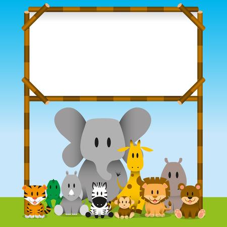 animales del zoo: Vector Cute animales salvajes y tablero en blanco Vectores