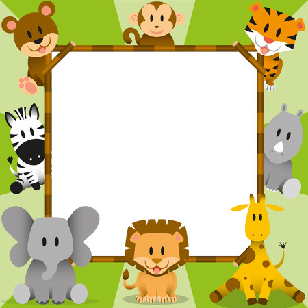 Vector Cartoon Cute Wild Animals And Framework Vector