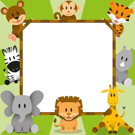 Vector Cartoon Cute Wild Animals And Framework Vector