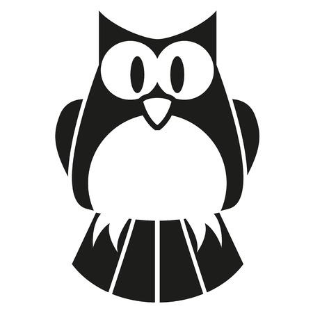 Vector Cute Black And White Cartoon Owl Vector