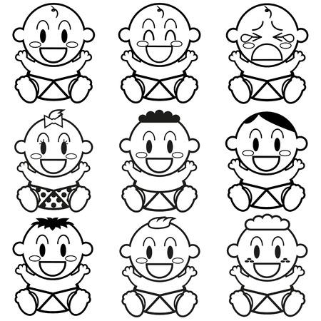 Vector Cartoon Cute different Babies Set Vector