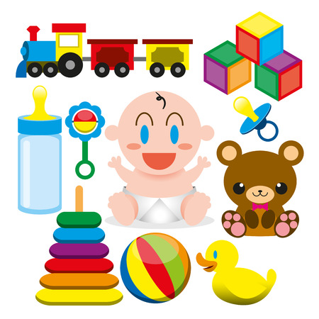 diaper baby: Vector Cartoon Cute Baby And Different Toys And Objects