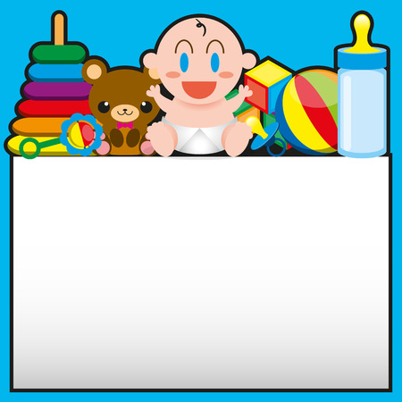 feeding bottle: Vector Cartoon Cute Baby And Toys With,Board For Text