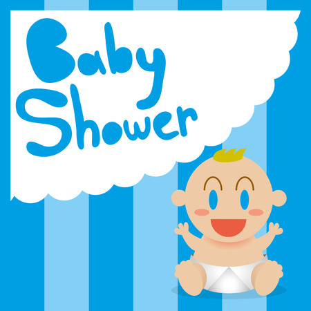 diaper baby: Vector Cartoon Cute Baby With Cloud And Text