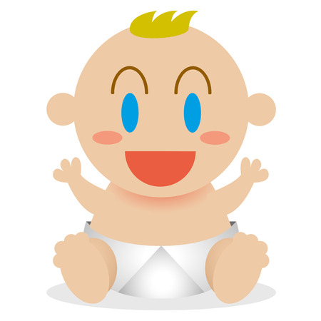 blonde yeux bleus: Vector Cartoon Happy Baby mignon isolé Illustration