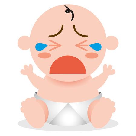 cry icon: Vector Cartoon  Happy Cute Baby Crying Illustration