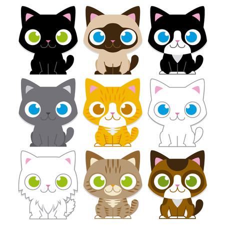 分離された異なる愛らしい漫画猫のベクトルを設定
