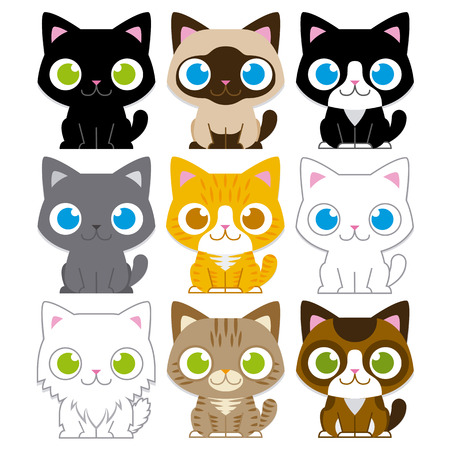 Vector Set Of Different Adorable Cartoon Cats Isolated Ilustração