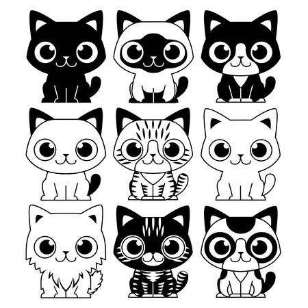 Vector Set Of Different Adorable Cartoon Cats Isolated  イラスト・ベクター素材