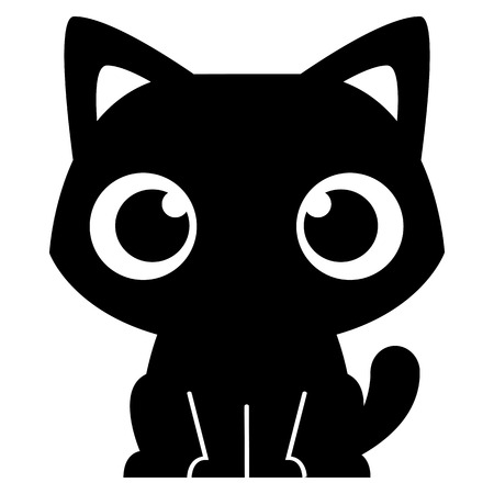 black cat silhouette: Vector Cartoon Adorable Little Cat Isolated Illustration