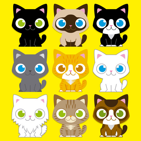 grey tabby: Vector Set Of Different Adorable Cartoon Cats Isolated Illustration
