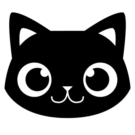 Vector Cartoon Adorable Cat Face Isolated Illustration