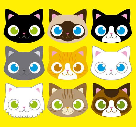 Vector Set Of Different Adorable Cartoon Cats Faces Vector