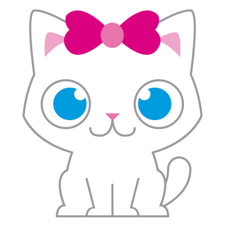 Vector Adorable Cartoon Cat With Pink Bow Isolated  イラスト・ベクター素材
