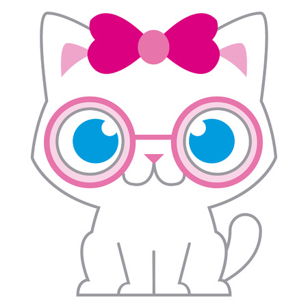 cat's eye glasses: Vector Adorable Cartoon Cat With Pink Bow And Glasses Illustration
