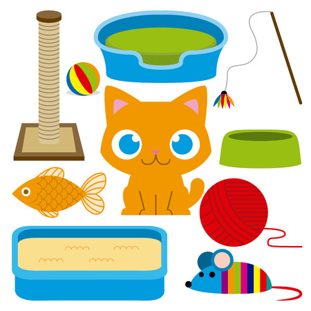 cartoon bed: Vector Cartoon Adorable Cat With Different Toys And Elements Illustration