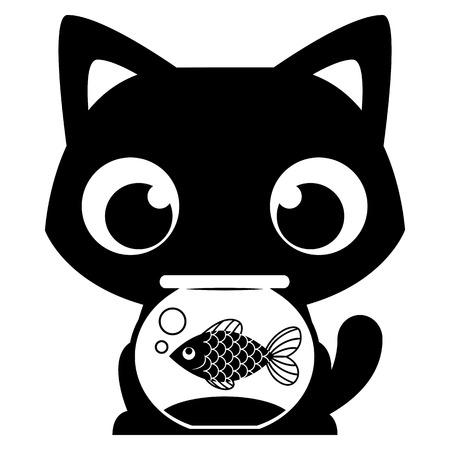 Vector de dibujos animados del gato adorable con un pez en una pecera