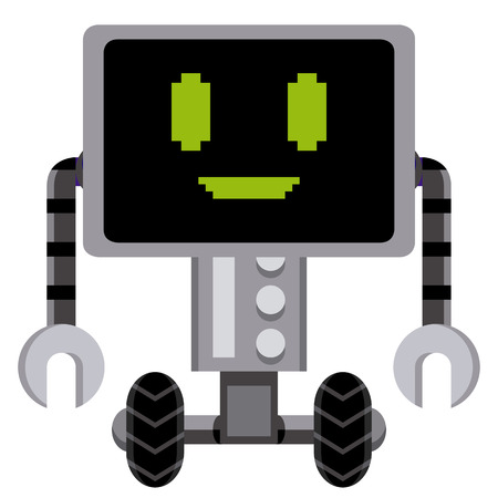 Vector Cartoon Gray Robot Isolated On White Background Vector