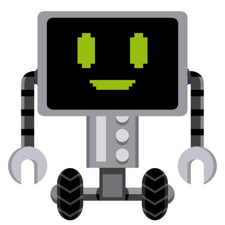 alien robot: Vector Cartoon Gray Robot Isolated On White Background